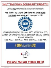 The UAW is circulating this flyer to rally members to picket General Motors' Tech Center in Warren on Friday.