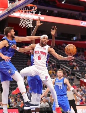 Detroit Pistons guard Bruce Brown (6) passes against Dallas Mavericks forward Maxi Kleber (42) during first period action Wednesday, October 9, 2019 at Little Caesars Arena in Detroit, Mich.