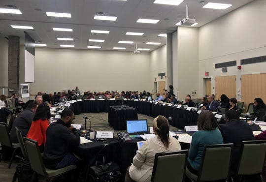 Experts and community leaders discuss criminal justice issues during a roundtable hosted by the Square One Project at Wayne State University on Thursday, Oct. 10, 2019.