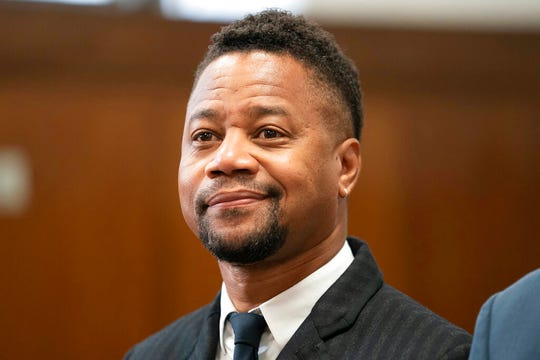 Cuba Gooding Jr. appears in a courtroom in New York, Thursday, Oct. 10, 2019. The actor is accused of placing his hand on a 29-year-old woman's breast and squeezing it without her consent in New York on June 9.
