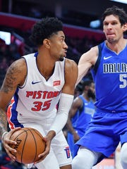 After standing out in the preseason opener, Pistons forward Christian Wood (35) only played nine minutes in Wednesday's preseason win over the Mavericks.