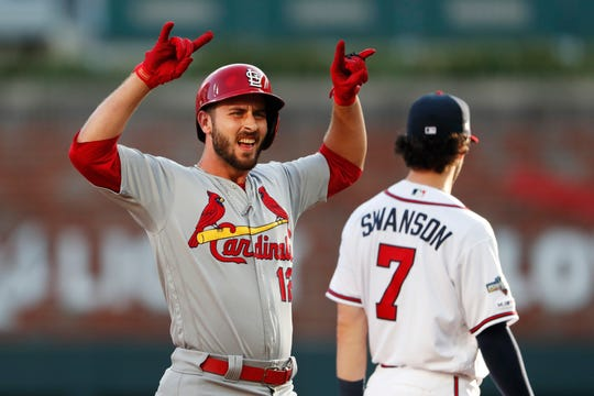 St. Louis Cardinals' Paul DeJong celebrates after hitting an RBI double in the second inning against the Atlanta Braves on Wednesday.