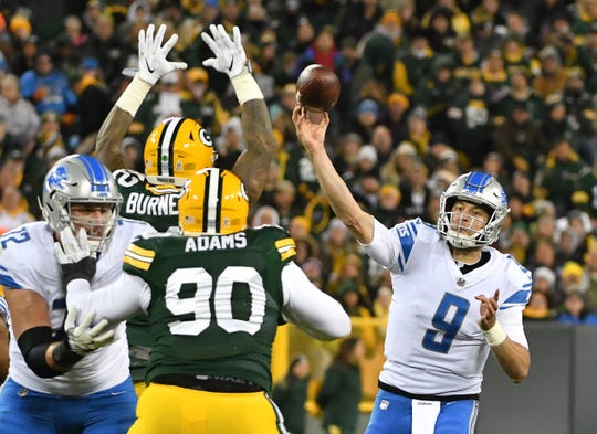 Lions quarterback Matthew Stafford said the hardest part about playing at Lambeau Field isn't the weather. It's the opponent.