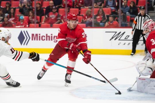 Red Wings forward Evgeny Svechnikov            missed all of last season following knee surgery..