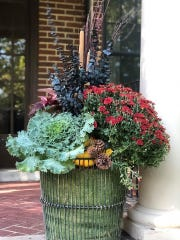 Kale, mums and other elements come together for this fall container garden by Laurie Bolach of Olive's Bloombox in Ferndale.