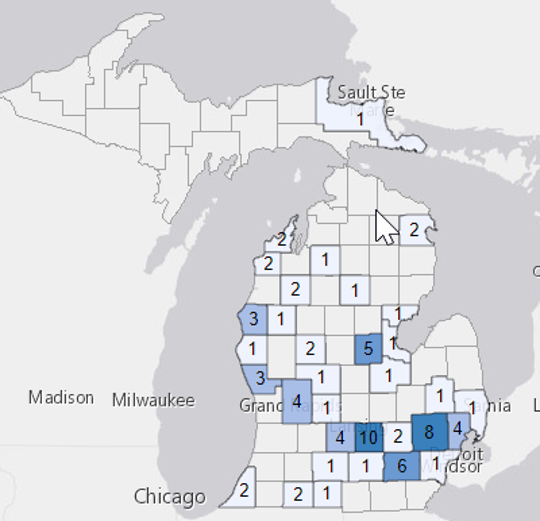 Map showing instances of confirmed rabies cases in mammals by county in Michigan in 2018.