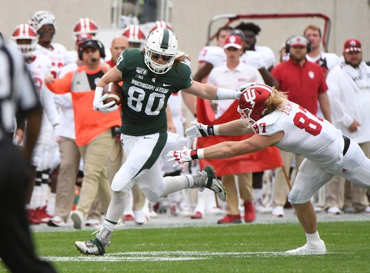 Matt Seybert leads Michigan State's tight ends with 13 catches for 170 yards and three touchdowns this season.