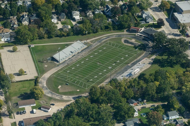 A view from an airplane of Fruth Field Wednesday, Oct. 9, 2019, in Fond du Lac, Wis.