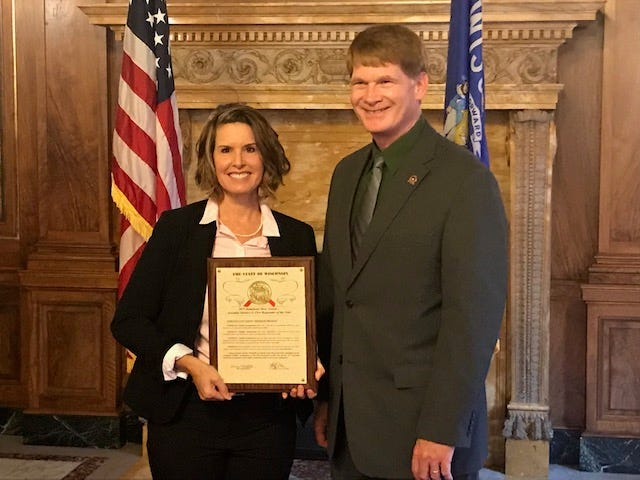 City of Fond du Lac Detective Camile Vandermolen received the Hero Award from the Wisconsin State Assembly on Thursday, Oct. 10, 2019. Vandermolen, left, is pictured with State Rep. Jeremy Thiesfeldt, who represents the 52nd District.