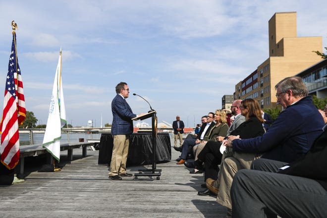 EPA Administrator Andrew Wheeler speaks at the press conference discussing proposed regulations about lead and copper in pipes on Thursday, Oct. 10, 2019, at CityDeck in Green Bay.