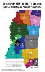 This map shows community mental health regions in Mississippi.