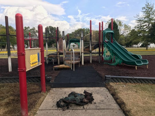 Henderson Fire Department's Engine 1 responded to a report of a fire in the playground at Kimmel Park around 2 p.m. Thursday.