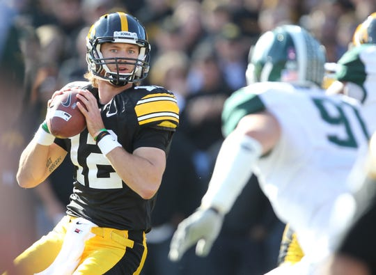 Iowa quarterback Ricky Stanzi drops back to pass in the first quarter of the Hawkeyes' game against Michigan State on Oct. 30, 2010 in Iowa City.