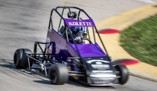 Kolette makes her way around the track during practice at Indy Mini Speedway at the Indiana State Fairgrounds on Tuesday, Oct. 1, 2019.