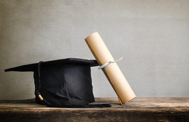 A graduation cap and degree.
