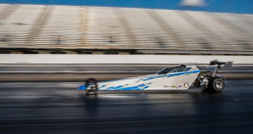 Kolette Dicero speeds down the strip at Lucas Oil Raceway at 50 mph on Wednesday, Aug. 7, 2019.