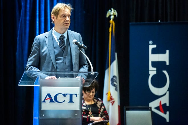 Marten Roorda, CEO of ACT, speaks during a press conference at ACT's computational psychometrics conference, Thursday, Oct., 10, 2019, at the Coralville Marriott Hotel & Conference Center in Coralville, Iowa.