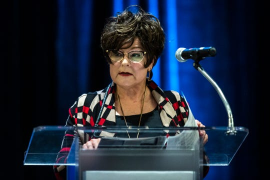Debi Durham, director of the Iowa Economic Development Authority, speaks during a press conference at ACT's computational psychometrics conference, Thursday, Oct., 10, 2019, at the Coralville Marriott Hotel & Conference Center in Coralville, Iowa.