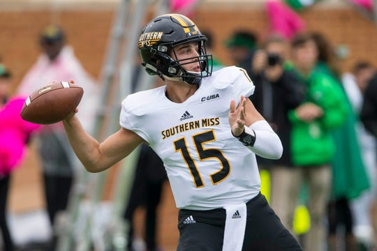 Oct 13, 2018; Denton, TX, USA; Southern Miss Golden Eagles quarterback Jack Abraham (15) passes against the North Texas Mean Green during the first half at Apogee Stadium.