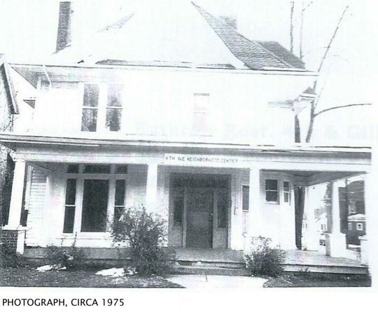 This picture, taken in 1975, shows the home's original porch.