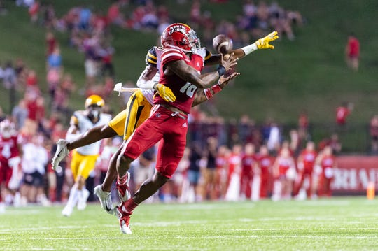 UL receiver Jalen Williams draws a pass interference call against Appalachian State earlier this month.
