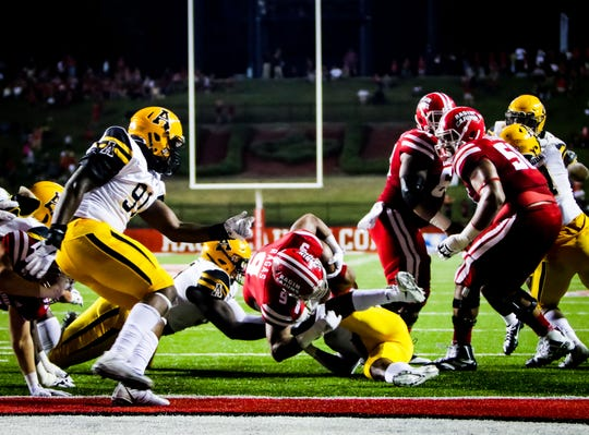 UL running back Trey Ragas is stopped trying to stretch into the end zone during Wednesday night's 17-7 loss to Appalachian State at Cajun Field.