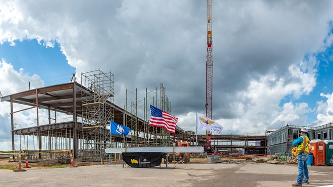Lafayette Regional Airport  officials hold ceremony to mark the end of steel infrastructure for the new terminal Thursday, Oct. 10, 2019.