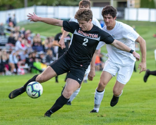 Brighton's Seth Bedford controls the soccer ball in a 1-0 overtime loss to Detroit Catholic Central in a first-round district game on Wednesday, Oct. 9, 2019.