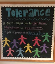 "A group of Bellarmine University students and staff were upset after a bulletin board posted in a residence hall included ""racist"" and ""homophobe"" under the types of people to show ""Tolerance"" and ""Respect"" towards."