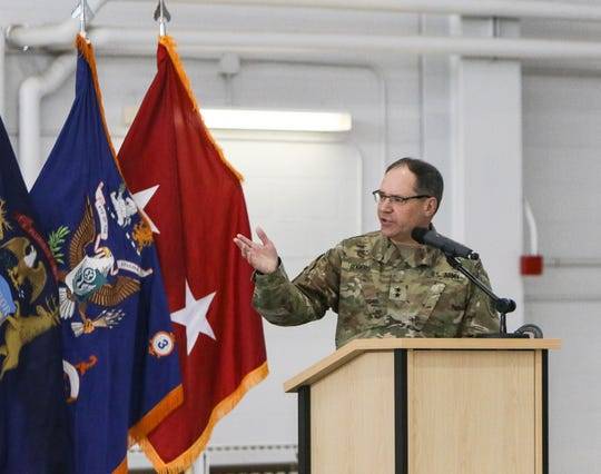 Maj. Gen. Paul Rogers, adjutant general for the Michigan Army National Guard, addresses members of the Michigan Army National Guard, Thursday, Oct. 10, 2019, during a deployment departure ceremony in Grand Ledge. About 80 soldiers will head to the Middle East, potentially conducting air medical evacuation missions as part of combat operations against ISIS and other terrorist organizations.