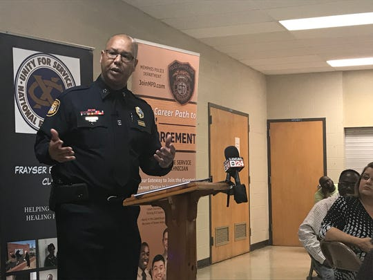 Memphis Police Department Director Michael Rallings speaks to the Frayser Exchange Club on Thursday, Oct. 10, 2019.