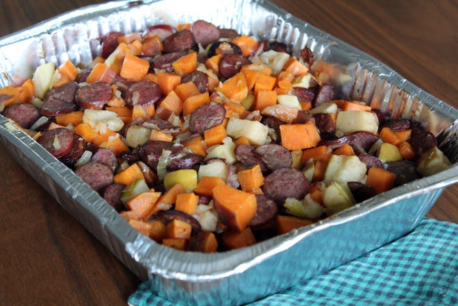 Sweet Potato, Apple and Sausage Bake is a kid-friendly, easy one-dish meal to take to a family in need.
