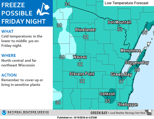 Freezing temperatures are possible across north central and northeast Wisconsin on Friday night.
