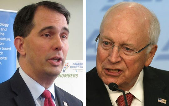 Former Wisconsin Gov. Scott Walker, left, and former Vice President Dick Cheney, right.
