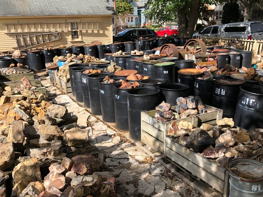 Barrels in the backyard of The Gem Shop in Cedarburg contain rock specimens from all over the world.