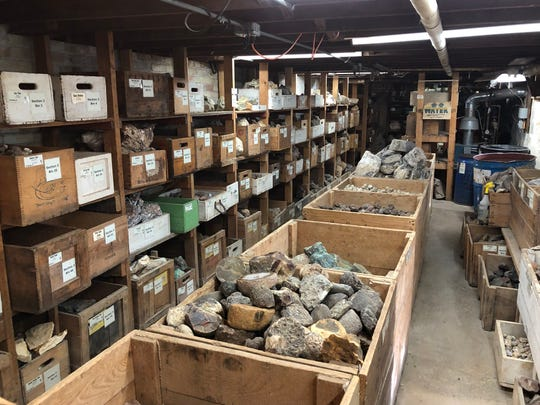 The basement of The Gem Shop in Cedarburg holds some of the store's rock inventory, and is also where you can get a geode cut by a diamond saw.