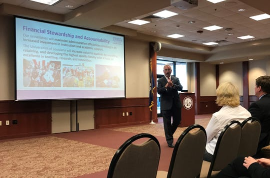 University of Louisiana System President and CEO Jim Henderson addressed a crowd Thursday at the University of Louisiana Monroe library.