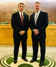 Dan Haber (left) and Brian Keane are two new Class III officers sworn in on Oct. 7 hired to patrol Rockaway Township elementary schools.