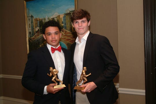 Alex Johnson from Edgewood Academy and Bryce Kelly from Pike Road High School were honored as Players of the Week at the October 8 meeting of the Montgomery Quarterback Club.