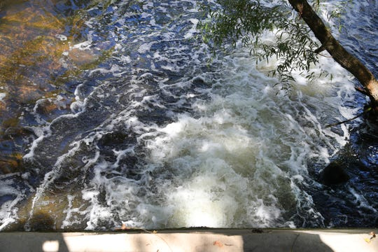 Water returns to the Stones River after water has passed through the Water Resource Recovery Facility, on Tuesday, Sept. 24, 2019.