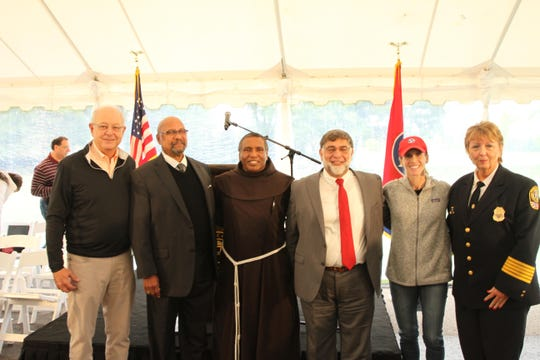 Left to right, Unite Williamson Founder Dr. Ken Moore, Shorter Chapel AME Church Pastor Dr. Kenneth Hill, St. Philip Catholic Church Pastor Father Bala Showraiah, Islamic Center of Franklin President Mohammad Fazili, Congregation Micah Rabbi Laurie Rice, and Franklin Police Chief Deborah Faulkner at the inaugural Unite Williamson Prayer Breakfast.
