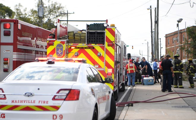 Nashville Fire personnel work the scene of a chemical spill at Lincoln Tech in Nashville Thursday, Oct. 10, 2019.
