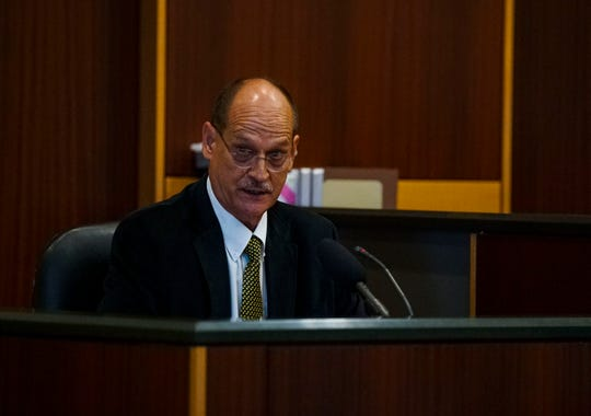 Dr. Mark Petrites took the stand just before noon. He was a family friend of the Sievers family and was contacted by Mark Sievers to check on Teresa. He found her dead on the kitchen floor. Opening statements from the defense and prosecution in the Jimmy Rodgers trial at the Lee County Justice Center, Fort Myers, FL, October 10, 2019. He is on trial for the murder of Teresa Sievers.