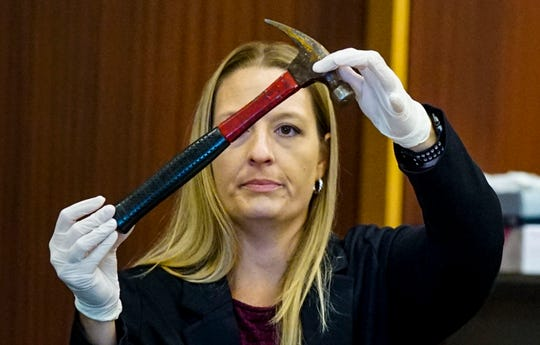 Certified Crime Scene Analyst, Kimberly Van Waus, was asked to talk about the items that were taken into evidence by Van Waus, like this hammer. Assistant State Attorney Cynthia Ross was asking her questions about them. Opening statements from the defense and prosecution in the Jimmy Rodgers trial at the Lee County Justice Center, Fort Myers, FL, October 10, 2019. He is on trial for the murder of Teresa Sievers.
