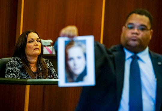 """Ann Lisa, Teresa Sievers sister was first to take the stand. She introduced the jury to her """"beautiful sister"""". Opening statements from the defense and prosecution in the Jimmy Rodgers trial at the Lee County Justice Center, Fort Myers, FL, October 10, 2019. He is on trial for the murder of Teresa Sievers."""