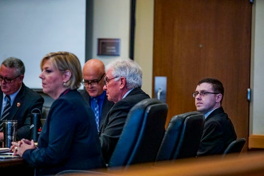 Jimmy Rodgers sits with his lawyers as the trial begins.  Opening statements from the defense and prosecution in the Jimmy Rodgers trial at the Lee County Justice Center, Fort Myers, FL, October 10, 2019. He is on trial for the murder of Teresa Sievers.