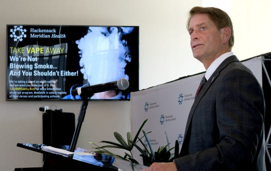 Robert Garrett, Hackensack Meridian Health chief executive officer, speaks at Jersey Shore University Medical Center in Neptune on Thursday, October 10, 2019, when a news conference was held to publicize the dangers of vaping.