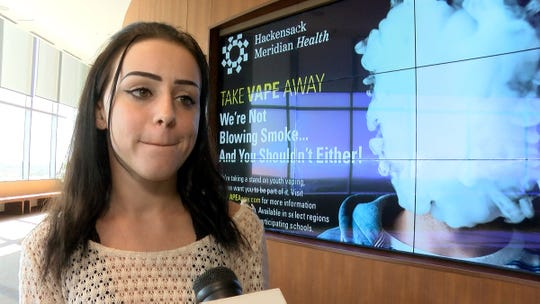 Kerri Chonsky, 21, of Englishtown, returned to Jersey Shore University Medical Center in Neptune on Thursday, October 10, 2019, when a news conference was held to publicize the dangers of vaping.  She was recently a patient at the hospital after suffering from pulmonary issues caused by her vaping.
