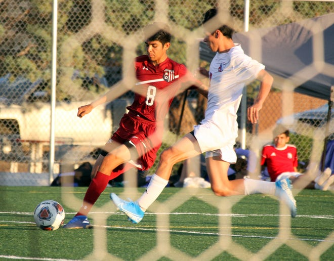 Sophomore Wildcat stryker Genesis Carrillo (8) is in the shadow of the Las Cruces goal unable to get a shot off during Tuesday's 7-0 loss to the Bulldawgs.