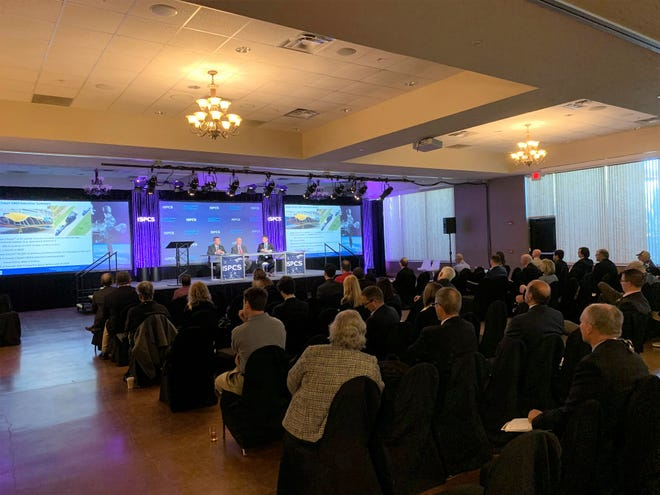 Audience take in a panel discussion on commercial resupply services for the International Space Station at the International Symposium for Personal and Commercial Spaceflight in Las Cruces, New Mexico on Thursday, Oct. 10, 2019.